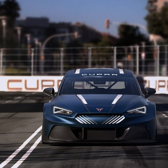 new CUPRA Leon e racer first fully electric race car with zero emissions front view on race track