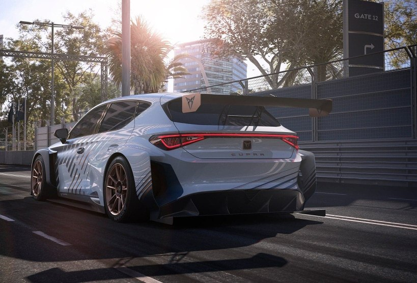new CUPRA Leon e racer high speed electric sports car rear view on race track