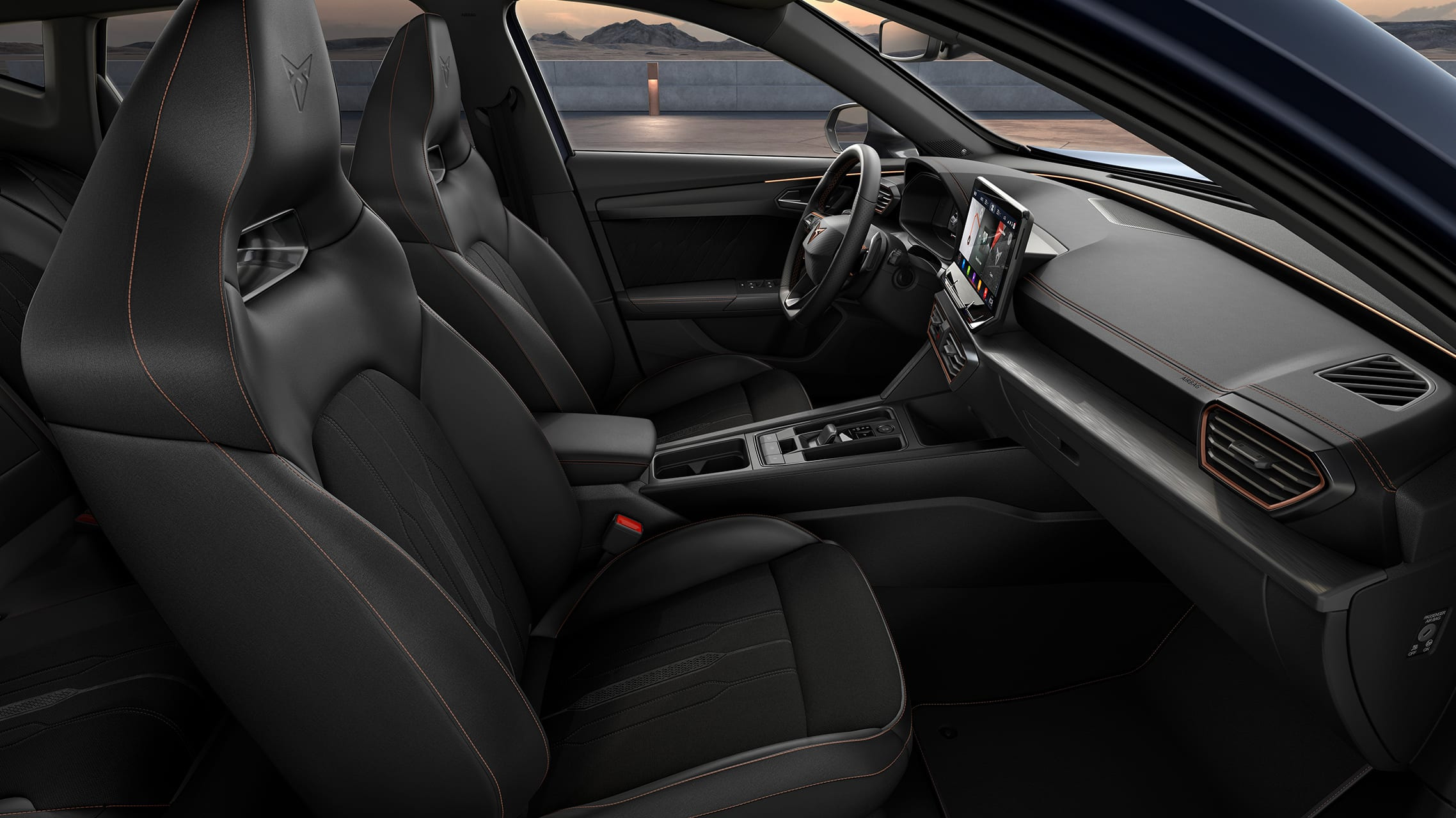 new cupra formentor interior with textile seats in black