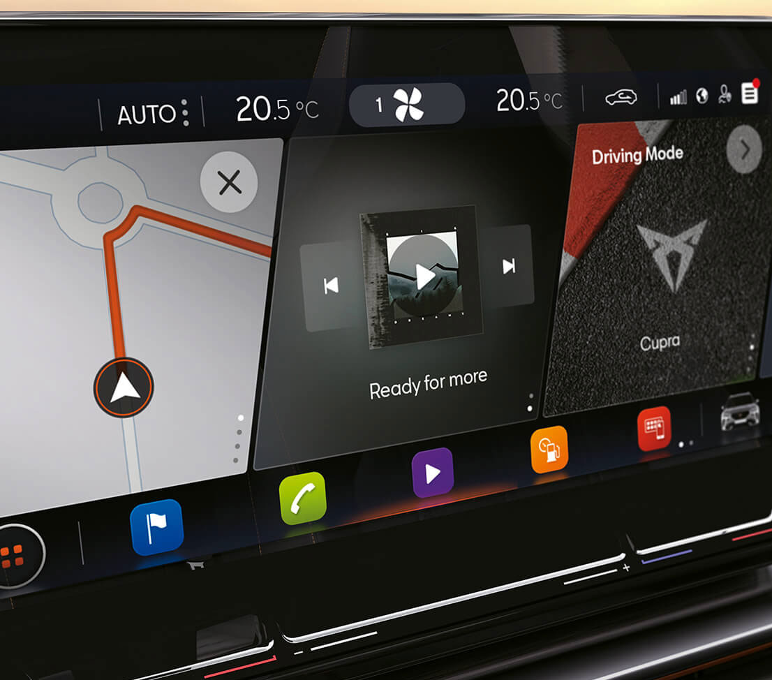 new cupra formentor 12-inch navigation screen with mapping services