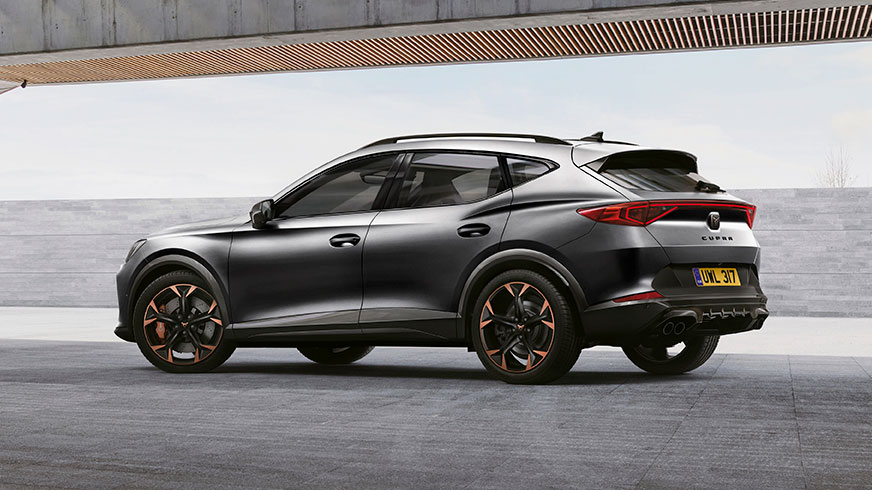 new cupra formentor compact suv with dynamic rear spoiler