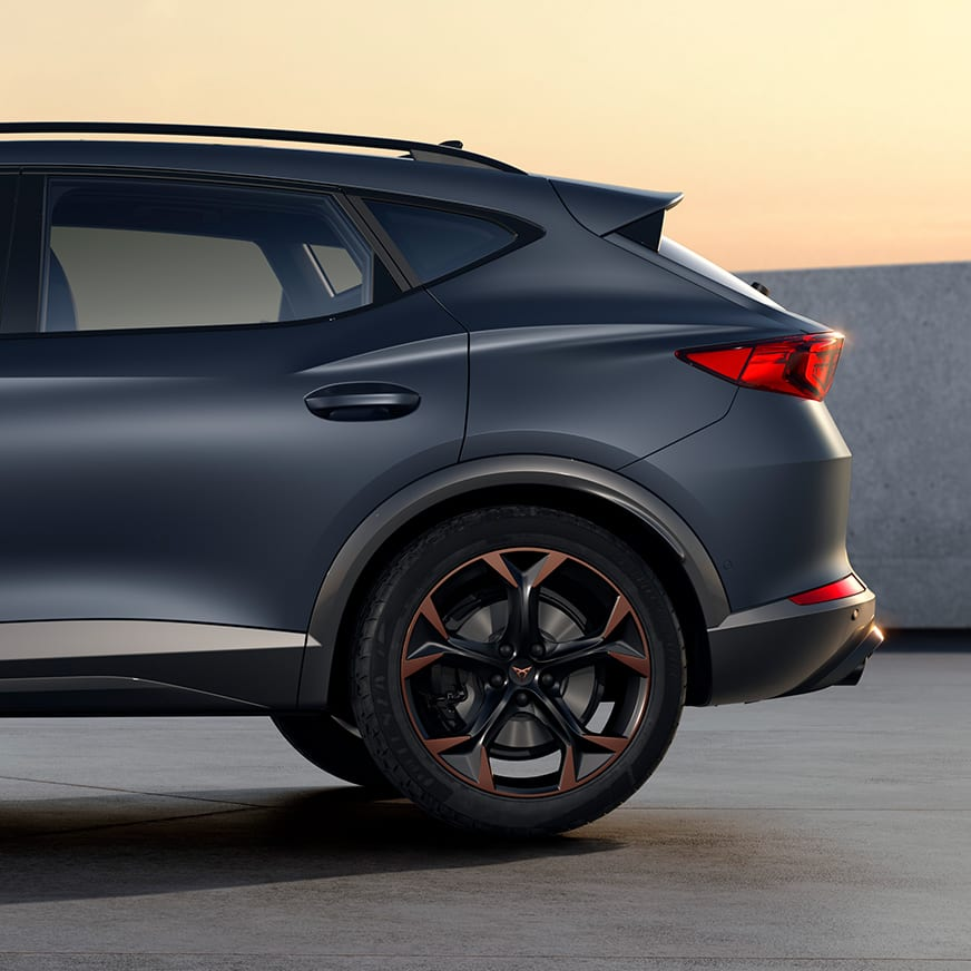 new cupra formentor compact suv with aerodynamic spoiler